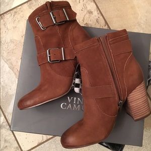 Brand new suede Vince Camuto booties - size 7.