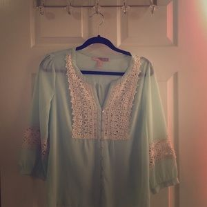 Forever 21 Mint Tunic with Lace Detail 3/4 Sleeve