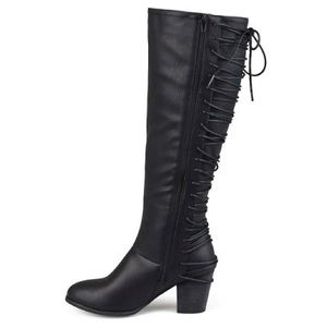 Journee Collection Shoes - 'Amara' Black Lace Up Boot