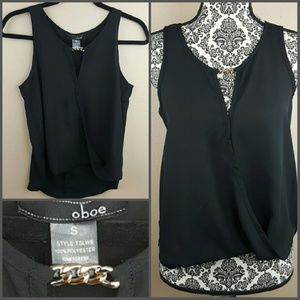Oboe Tops - Black Dressy Top w Gold Chain by Oboe Size Small