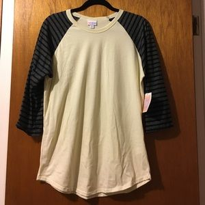 LuLaRoe Tops - NWT Ivory LulaRoe Randy w/ Gray and Black Sleeves