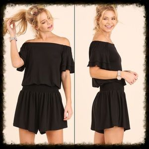 Pants - Black Off the Shoulder Romper