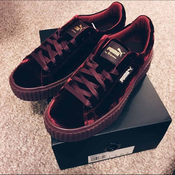 low priced d22f4 daf54 Puma Fenty Rihanna Burgundy Velvet Creepers NWT