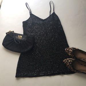 Express black sequin top