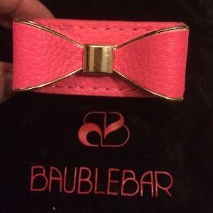 New Baublebar Pink Girly Bow Metal Bracelet RARE