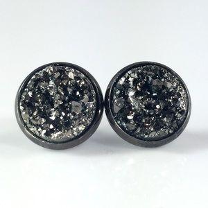 thejeweladdict Jewelry - 3 for 15🎀gunmetal grey faux druzy studs