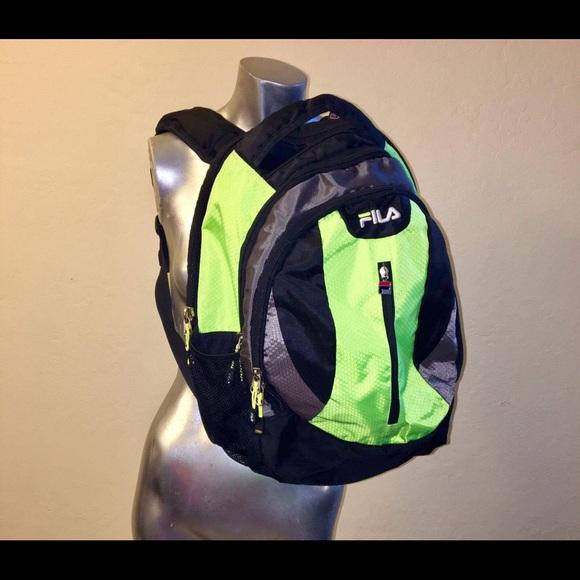 Fila Handbags - Fila Lime Green   Black Back Pack Loaded w Pockets