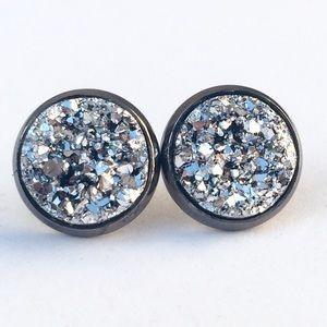 thejeweladdict Jewelry - 3 for 15🎀bright silver faux druzy gunmetal studs