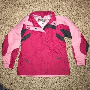 GIRLS 10/12 Columbia pink and charcoal ski coat.