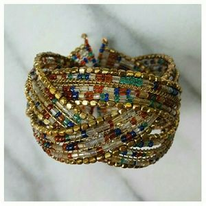 Anthropologie Whirl Woven Cuff Bracelet