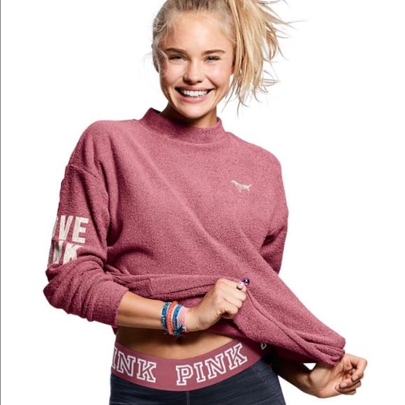 PINK Victoria's Secret - PINK Stadium Mock Neck Pullover Sweater ...