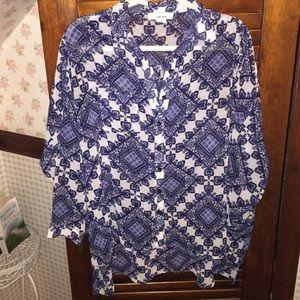 Sheer oversized patterned blouse