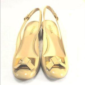 Prada Shoes - PRADA Cream Patent Low Heel Slingbacks Bow Detail