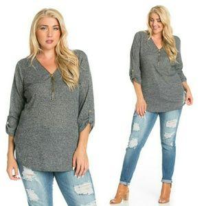 Tops - Plus size gray top 1x 2x
