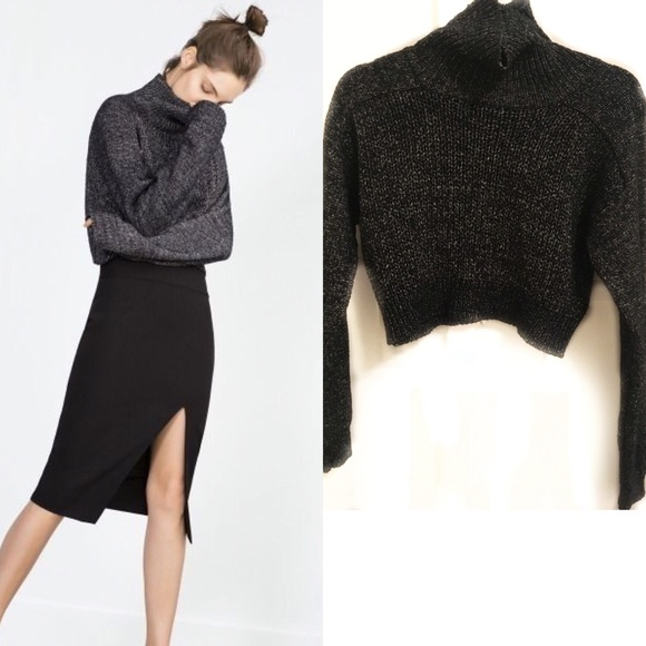 90% off Zara Sweaters - ZARA KNIT Blk/white CROP TURTLENECK ...