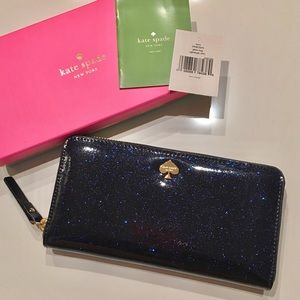 NEW Kate Spade Blue Glitter Bug Lacey Wallet
