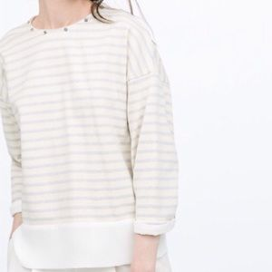 Zara Stripe Gray & White Jeweled Sweater
