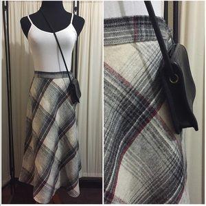 Vintage plaid thin wool circle skirt