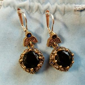 Jewelry - Sterling & Bronze Blue Sapphire Topaz Earrings