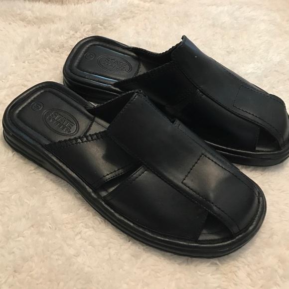 State Street Shoes Vday Salemens Leather Close Toe Slip On Sandal