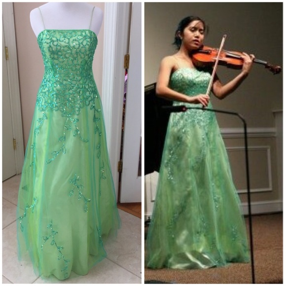 Morgan & Co. Dresses | Green Sequin Gown Concert Or Pageant | Poshmark