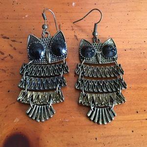 Gold owl dangle earrings