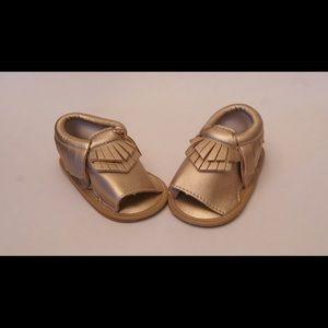 Other - Kate Sandal - Gold Fringe Moccasin Sandal