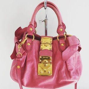 Authentic Miu Miu Pink Leather Bows Bag