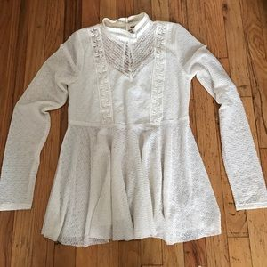 Free People Tops - FREE PEOPLE white Lace high neck Peplum blouse