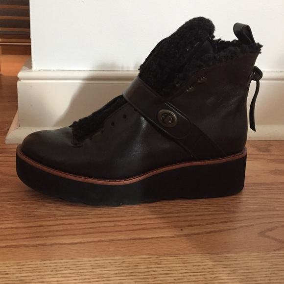 9d962e884fe Coach Urban Hiker leather and shearling boots