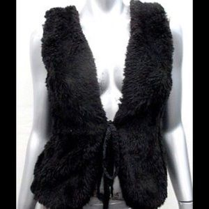 VINTAGE BLACK PLUSH FAUX FUR VEST SZ/S