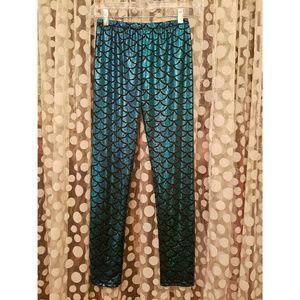 Pants - Teal Mermaid Print Leggings