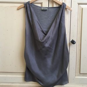 Closed Tops - Gray low cut tank with with second layer on front