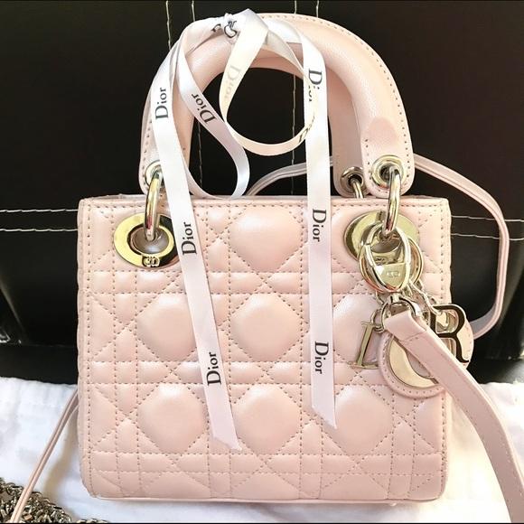 62353f215c Christian Dior Handbags - MINI LADY DIOR CLASSIC LAMBSKIN LIGHT PINK/BEIGE