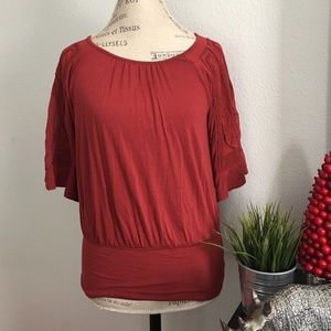 Anthropologie Burnt Red Top