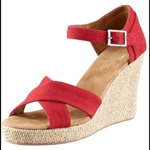 NEW Toms Red Wedge Canvas Sandals 8.5