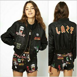 Lazy Oaf Jackets & Blazers - Rare Lazy Oaf headbanger bomber patches jacket