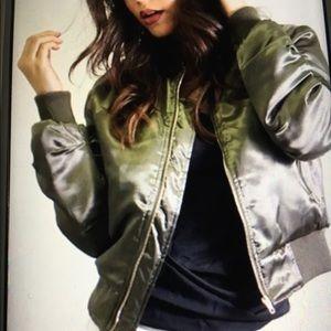 T&C Jackets & Blazers - ❣️Olive Satin Bomber Jacket❣️