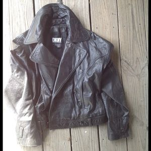 DKNY Jackets & Blazers - DKNY Vintage 90's Leather Moto Jacket