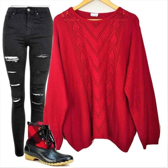 6b5e6fe301 Vicki Wayne Sweaters - Vicki Wayne red chunky women s large sweater