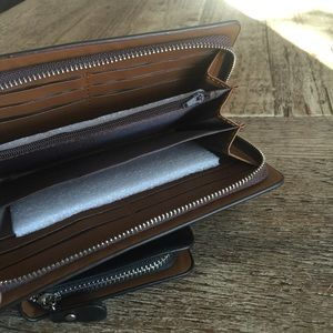 SXLLNS Bags - Men's Faux Leather Travel Clutch Long Wallet