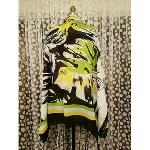 Accessories - Abstract Botanical Print Oversized Scarf