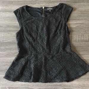 Express black lace peplum top size xs