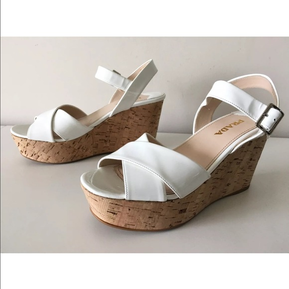 ef72527cbca PRADA DONNA CORK WEDGE WHITE PLATFORM SANDALS