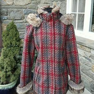 Woolrich Jackets & Blazers - Woolrich tweed plaid coat with faux fur trim