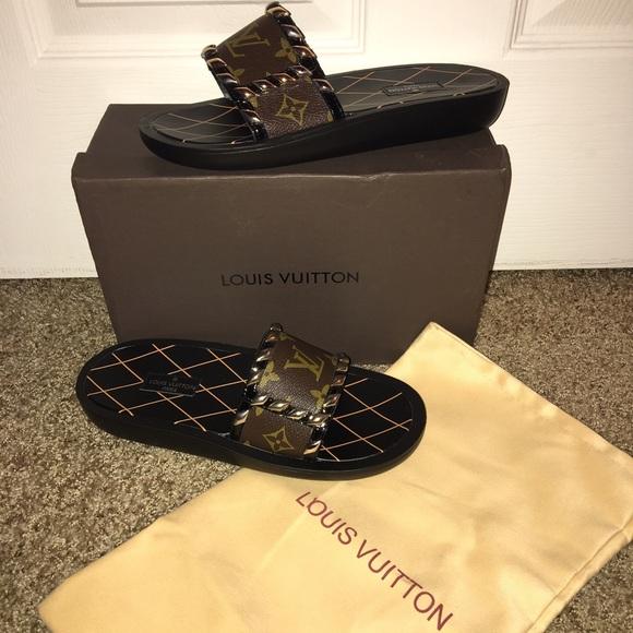 769ad8e25a93 Monogram slides sandals shoes US size 7.5