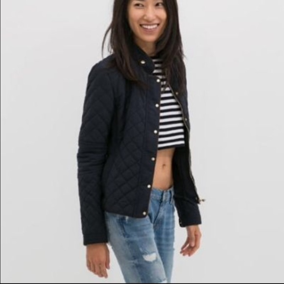 Zara Jackets Coats Navy Quilted Jacket Poshmark