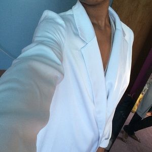 F21 light blue long side slit blazer