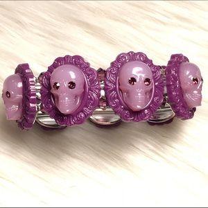 Tarina Tarantino Jewelry - Purple lucite skull stretch bracelet