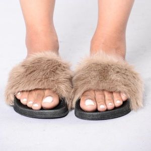 Shoes - Fur Slides- TAUPE